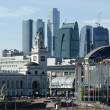 Stock Photo: Kievsky train station and international business centre as seen from the Mo