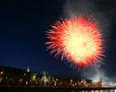 Fogos de artifício sobre o kremlin de Moscou. Rússia, 12 de junho de 2011 — Fotografia Stock