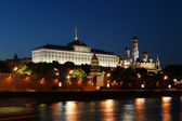 Night view of the Moskva River and Kremlin, Russia, Moscow — Stock Photo
