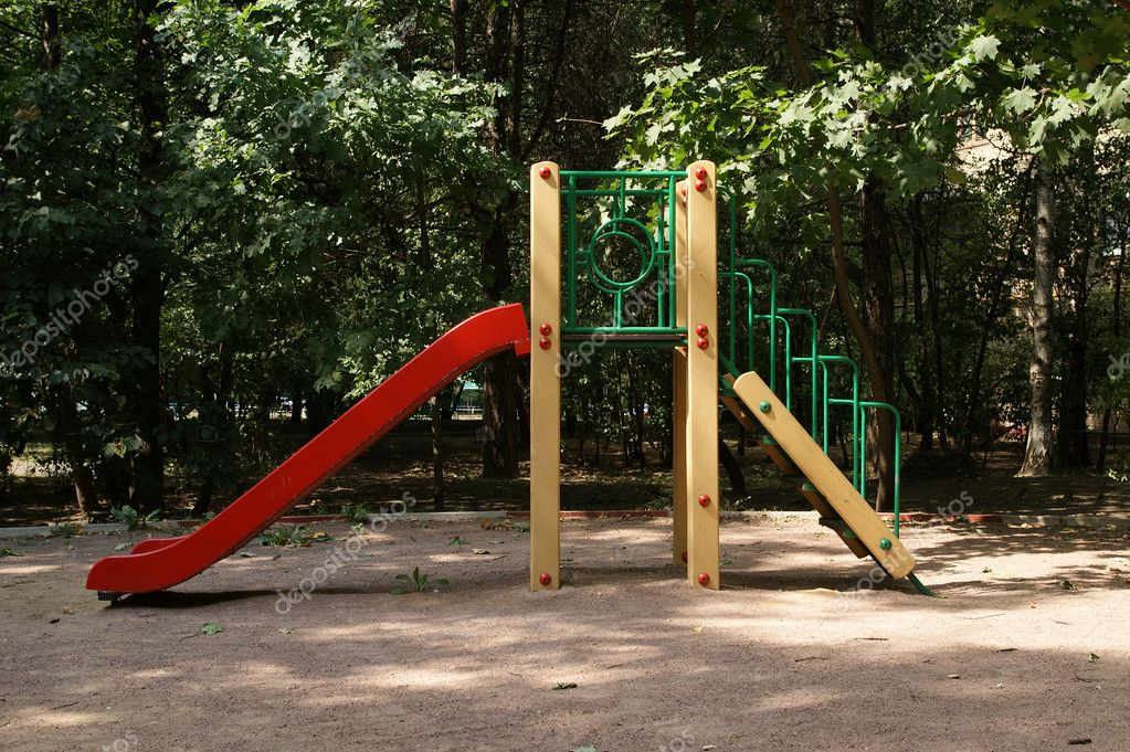 A colorful playground in a park. Moscow, Russia  Stock Photo #6842683