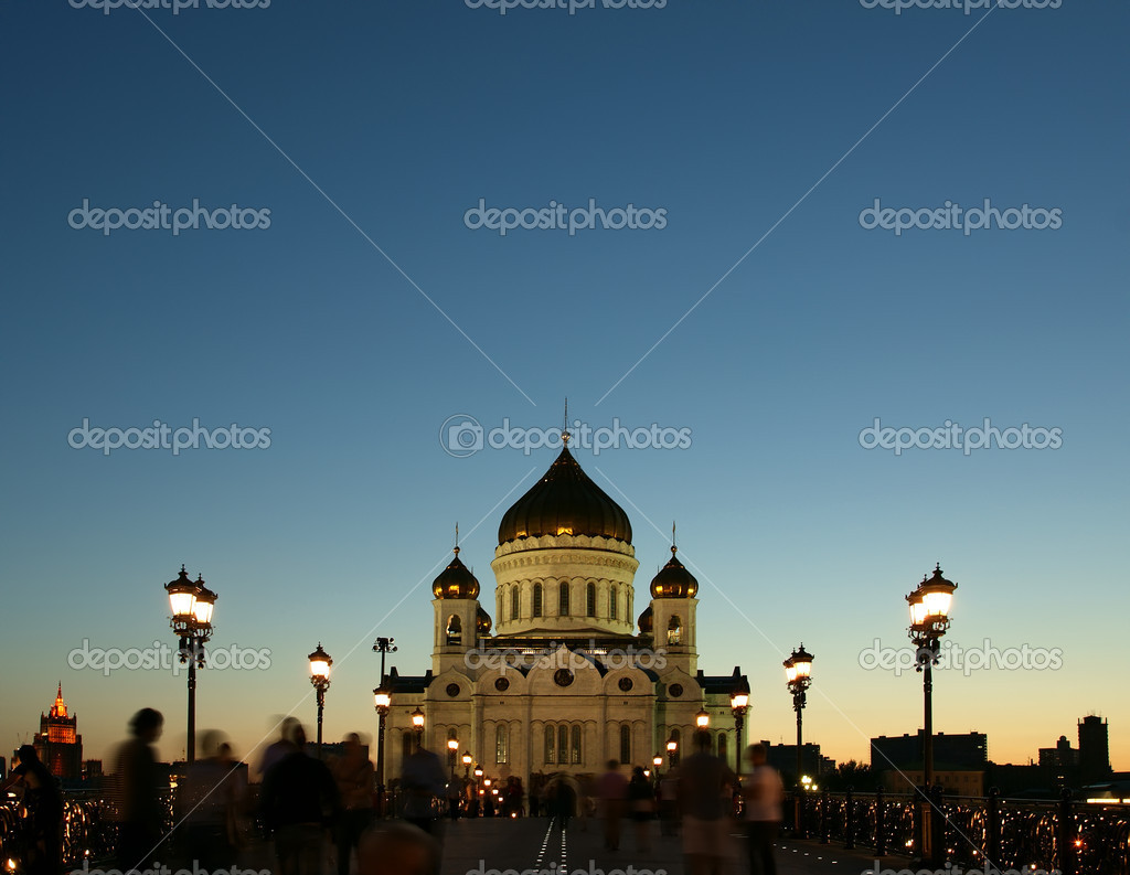 Night view of the Christ the Savior Cathedral, Moscow, Russia  Stock Photo #6842772