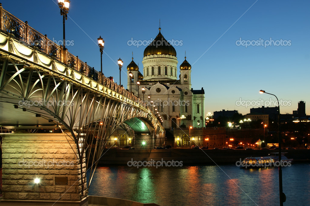 Night view of the Moskva River and the Christ the Savior Cathedral, Moscow, Russia  Stock Photo #6843123