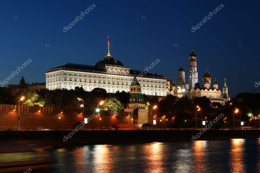 Night view of the Moskva River  and Kremlin, Russia, Moscow  Stock Photo #6843623