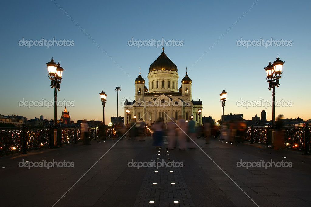 Night view of the Christ the Savior Cathedral, Moscow, Russia  Stock Photo #6844274