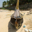 Fisherman`s boat on the sand beach. Kerala, South India — Stock Photo #7806639