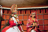 Kathakali performer in the virtuous pachcha (green) role — Stock Photo