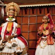 Stock Photo: Kathakali performer in virtuous pachch(green) role
