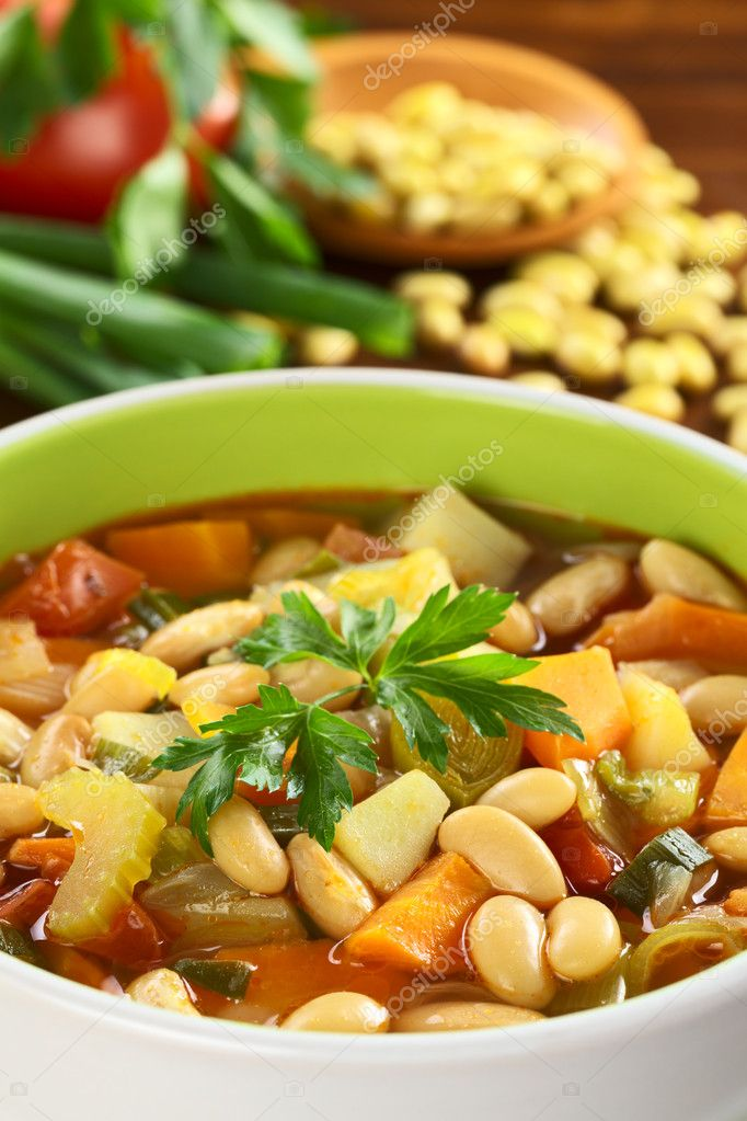 Vegetarian canary bean soup made of canary beans, celery, carrot, potato, tomato, leek, green onions garnished with parsley (Selective Focus) — Stock Photo #6952399