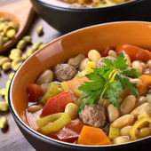 Bean Soup with Meatballs and Other Vegetables — Stock Photo