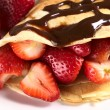 Crepe with Fresh Strawberries — Stock Photo