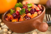 Pumpkin, Beetroot, Broccoli and Chickpea Salad — Stock Photo