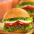 Vegetarian Lentil Burgers with Juices — Stock Photo