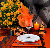 Festive table with gifts for Halloween — Stock Photo