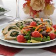 Chicken roulade with spinach and mushrooms with vegetables - Stock Photo