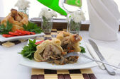 Chicken leg stuffed with mushrooms in pastry (cut) — Stock Photo