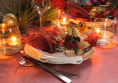 Fragment table setting for Christmas and New Year — Stock Photo