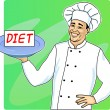 Сook with plate and diet menu — Vector de stock