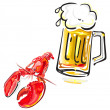 Crawfish and beer — Stock Vector
