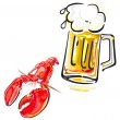 Crawfish and beer — Stock Vector #6750259