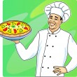 Stock Vector: Cook with pizza
