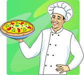 Koken met pizza — Vector de stock