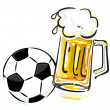 Soccer ball and beer — Stock Vector