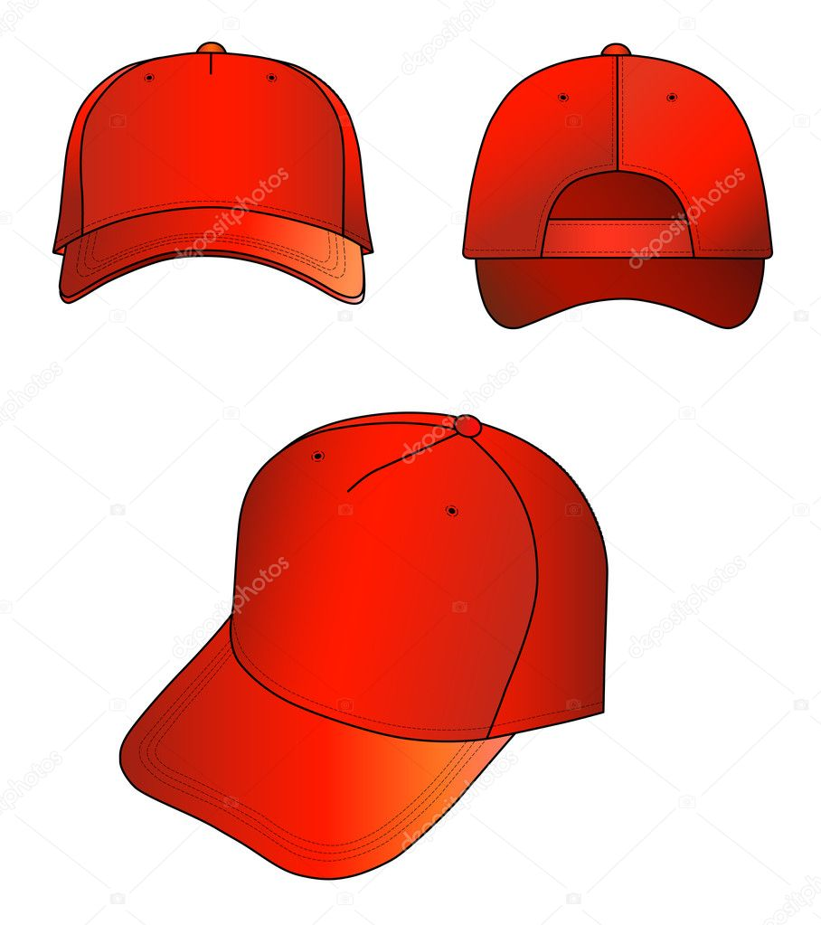 Red cap vector illustration isolated on white. EPS8 file available.You can change the color or you can add your logo easily. — Stock Vector #6842968