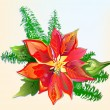Christmas Poinsettia — Stock Vector