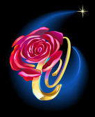 Rose in Space — Stock Vector