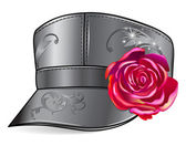 Leather cap with rose — Stock Vector