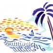 Palm, sunset and sea — Stock Vector