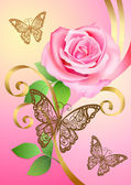 Valentine postcard with rose, butterflies and ribbons — Stock Vector