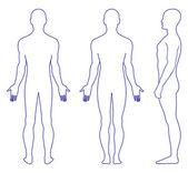 Hombre desnudo de pie — Vector de stock