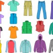 Man clothes colored collection — Stockvectorbeeld