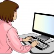 Stock Vector: Woman-programmer near a computer