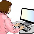 Stock Vector: Woman-programmer near computer