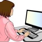 Woman-programmer near a computer — Stock Vector