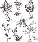 Arredamento elementi floreali per progettazione — Vettoriale Stock