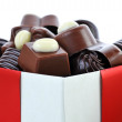 Different chocolate in box — Stockfoto