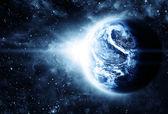 Sunriece hermoso en el planeta rojo en el espacio — Foto de Stock