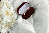 Белые герберы и обручальные кольца — Стоковое фото