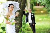 Damat ve gelin şemsiyesi ile — Stok fotoğraf