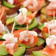 Sandwiches with shrimps — Stock Photo
