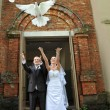 Newlyweds with doves — Stock Photo
