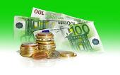 Dollars and euro money — Stock Photo