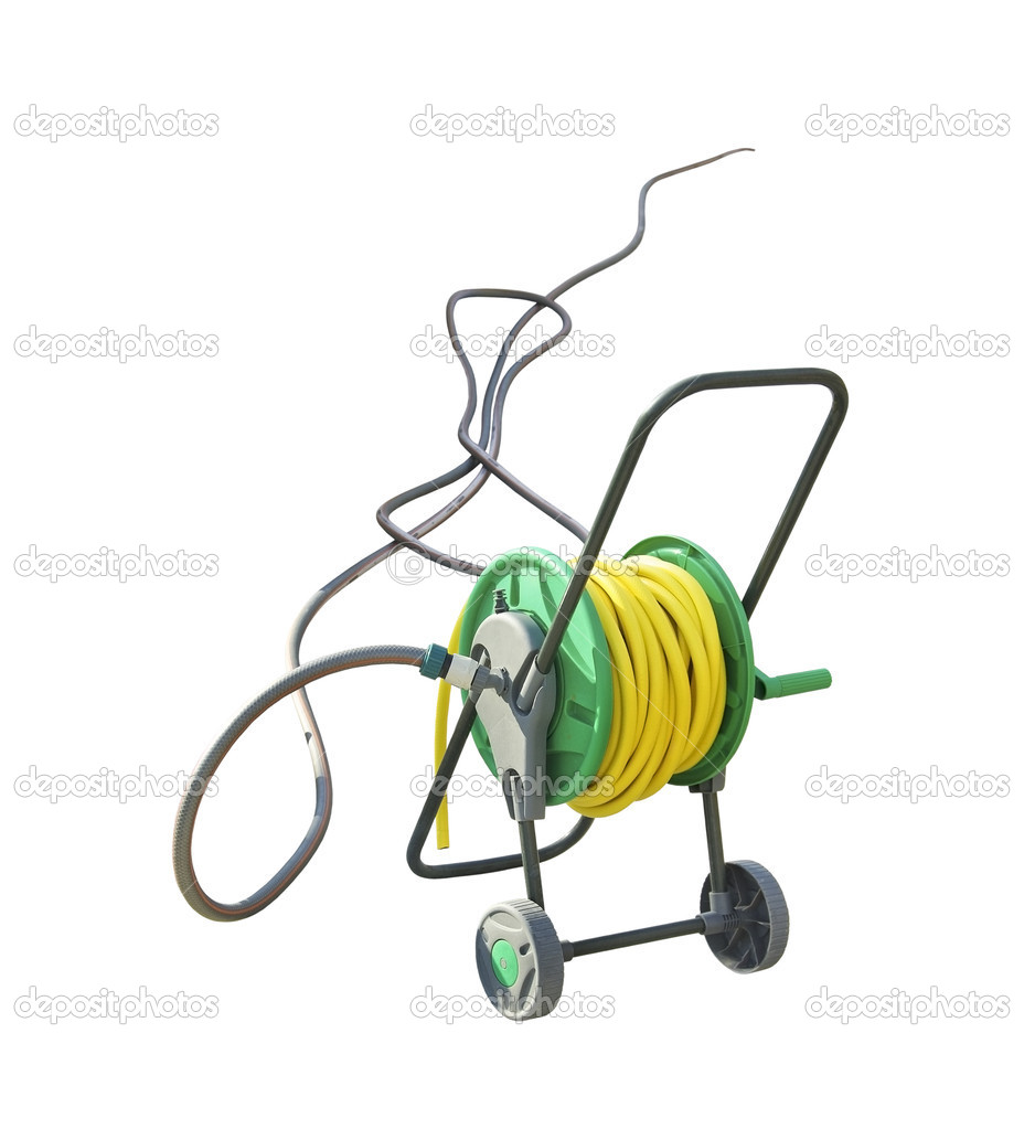 Coiled coil with hose. Hose reel trolley isolated on white background. Yellow coil hose with watering pipe. Modern garden hose on the spool.  Stock Photo #7939339