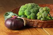 Broccoli in basket — Stock Photo