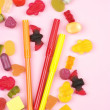 colorful candy and felt pens — Stock Photo