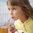 Little girl in cafe — Stock Photo