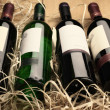 Wine bottles in straw — 图库照片